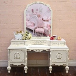 Stunning Vintage Vanity in White with Mirror - mediterranean - makeup mirrors - los angeles - by The Bella Cottage
