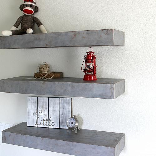 Custom Faux Metal Floating Shelves -- Add a faux metal finish to shelving to create a new look.  #decoartprojects