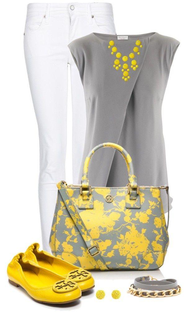 Blusa color gris con maxicollar amarillo