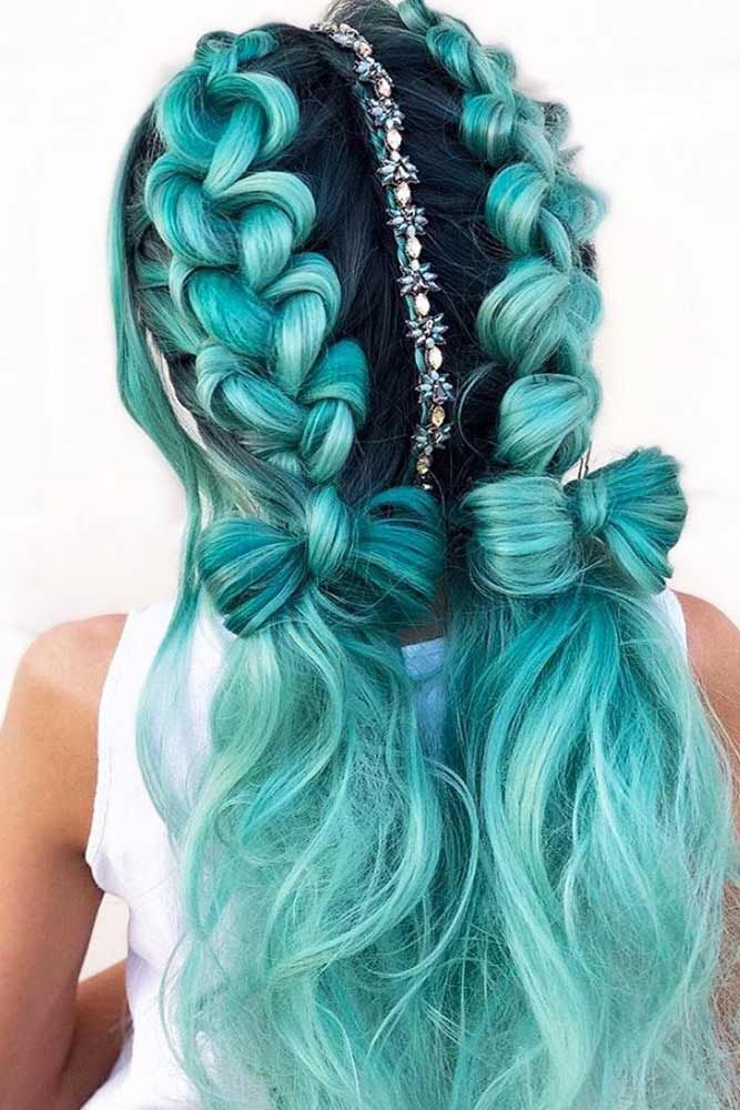 Mermaid Style With Blue Double Braids Easy To Do Braided Hairstyles To Copy Check Out Our Collection Of H Hair Styles Pretty Hair Color Long Hair Styles