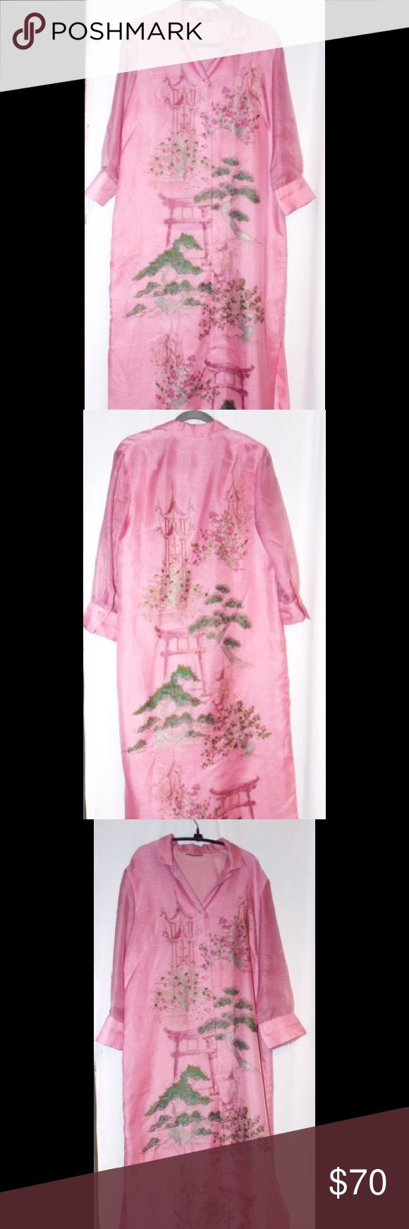 60s Vintage Asian Oriental Designer gown maxi Alfred Shaheen The Master Printer 1960s glorious raspberry sherbet maxi dress! Hand made and hand screen printed, this has serious presence. Measurements will be in the COMMENTS section - this was custom made, so no size tag. Fabric is like a poly dupioni with a sizzling shimmer. Pagoda, cherry blossom trees in silver green...it's incredible with same print front and back. I have 3 of these gowns from same origin - estate sale 90s. Have been in…