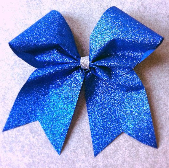 Royal Blue Sparkle Cheer Bow on Etsy, $6.95