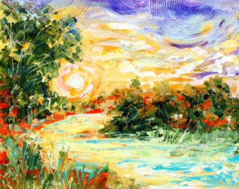 """Karen's Fine Art – Gallery Represented Modern Impressionism in oils    Title: Rainy Moonlight Glow  Original oil painting by Karen Tarlton  Size: 24""""x 36""""  Painting varnished for protection and enhancement  PAINTED ON STRETCHED CANVAS WITH SIDES PAINTED. READY TO HANG!  Hand-Signed Certificate of Authenticity included  Frame is not included    This original oil, painted with a modern impressionistic edge, captures a romantic moment in time in brilliant color. Reflective rain and bright color…"""