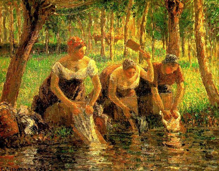 Camille Pissarro - Laundring Women. Eragny sur Eptes, 1895