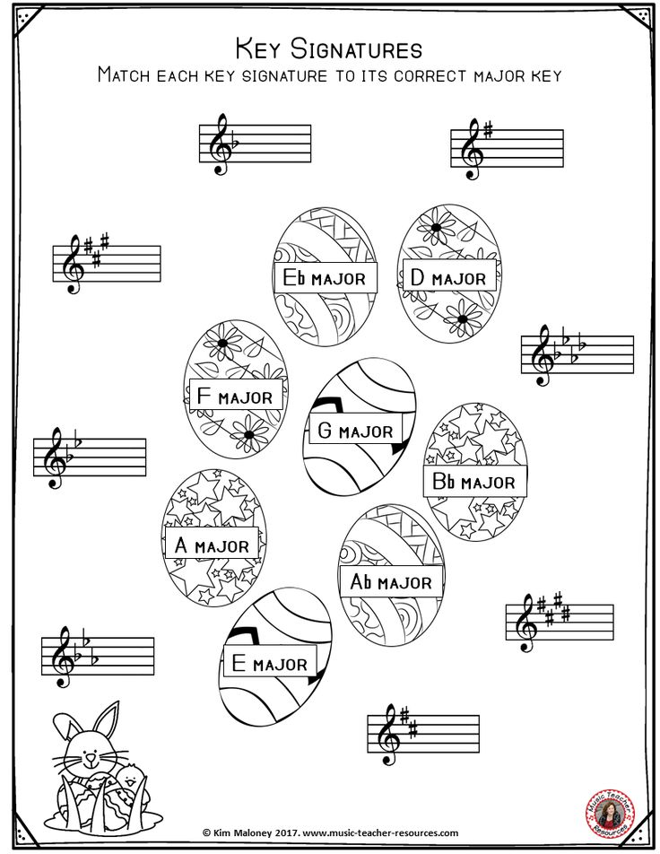FREE Music Worksheet      Key Signature worksheets with an Easter theme.  ♫ CLICK and download your copy or save for later!  ♫