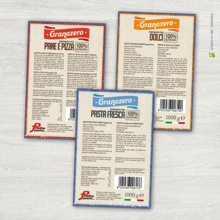 Gluten free flour labels © Studio Pi Tre (Cremona - Italy)