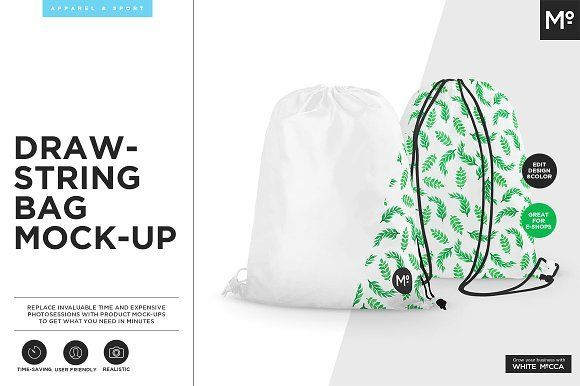 Drawstring Bag Mock-up by Mocca2Go/mesmeriseme on @creativemarket