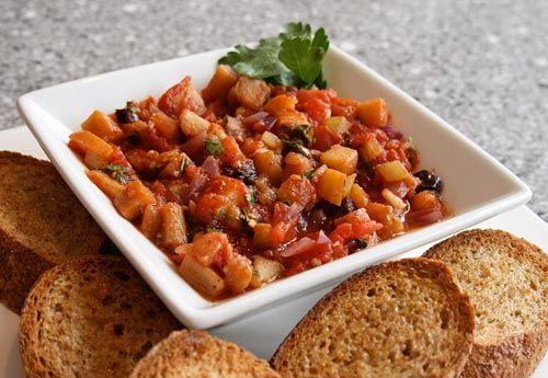 caponata - aubergine , onion, tomato, caper, celery, little vinegar, sugar and salt