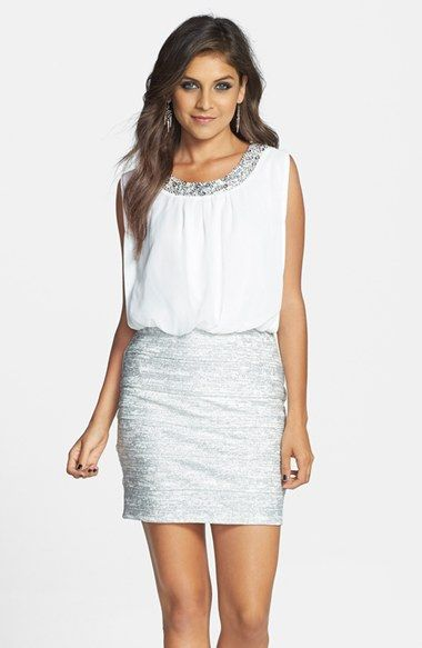 Embellished Blouson Dress with neckline bead detail, a daring back cutout and a leg-flattering pencil skirt | @Nordstrom
