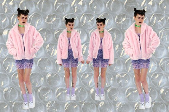 hella 90s.........Faux FUR Pink Fuzzy Club Kid Bomber Jacket. $68.00, via Etsy.