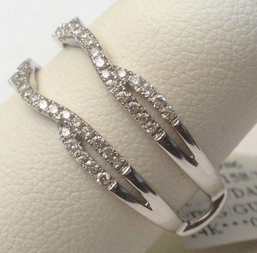 14k White Gold Split Shank Solitaire Enhancer 0 35ct Diamonds Ring Guard Wrap | eBay