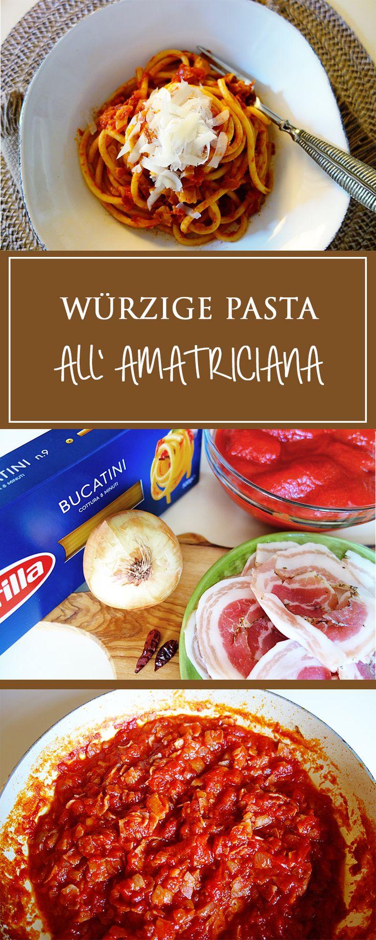 Bucatini all'Amatriciana - Tomaten, Bauchspeck, Zwiebel, etwas Chili & Olivenöl - es braucht nicht viele Zutaten für diese leckere italienische Pastasauce! Fertig in weniger als 30 Minuten! ❤️ | cucina-con-amore.de