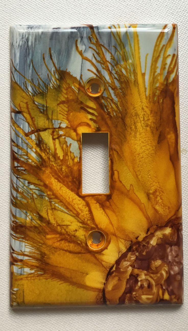 Arts and crafts switch plate covers - Alcohol Inked Light Switch Cover