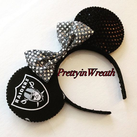 Oakland Raiders inspired Mickey Mouse ears by PrettyinWreath