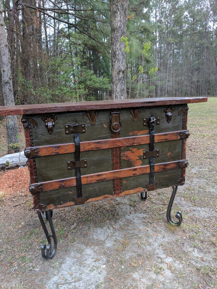 SOLD but making more... taking orders..Vintage Trunk Repurposed into this beautiful Accent Table with a Cypress Wood Table Top and Iron Legs by VellaRedeemed on Etsy
