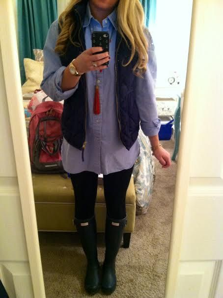 Cute comfy winter outfit with vest and black hunter rain boots