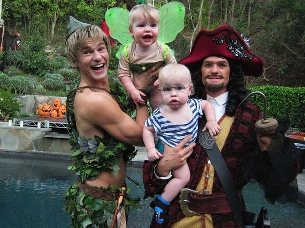 This might be the best picture ever. Neil Patrick Harris and his partner as Captain Hook and Peter Pan