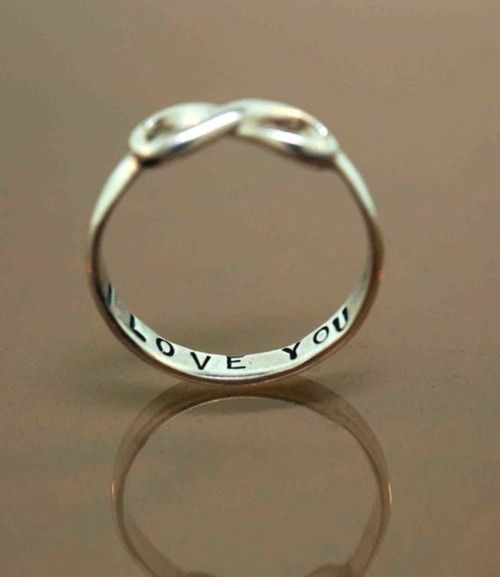 """Infinite ring inscribed """"I LOVE YOU"""" <3 i've always wanted a promise ring.."""