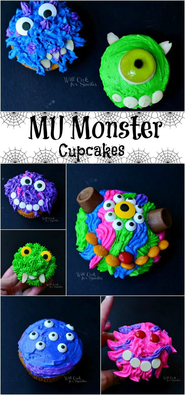 Monsters University Monster Cupcakes Collage 1 from willcookforsmiles.com #monsters #cupcakes #party