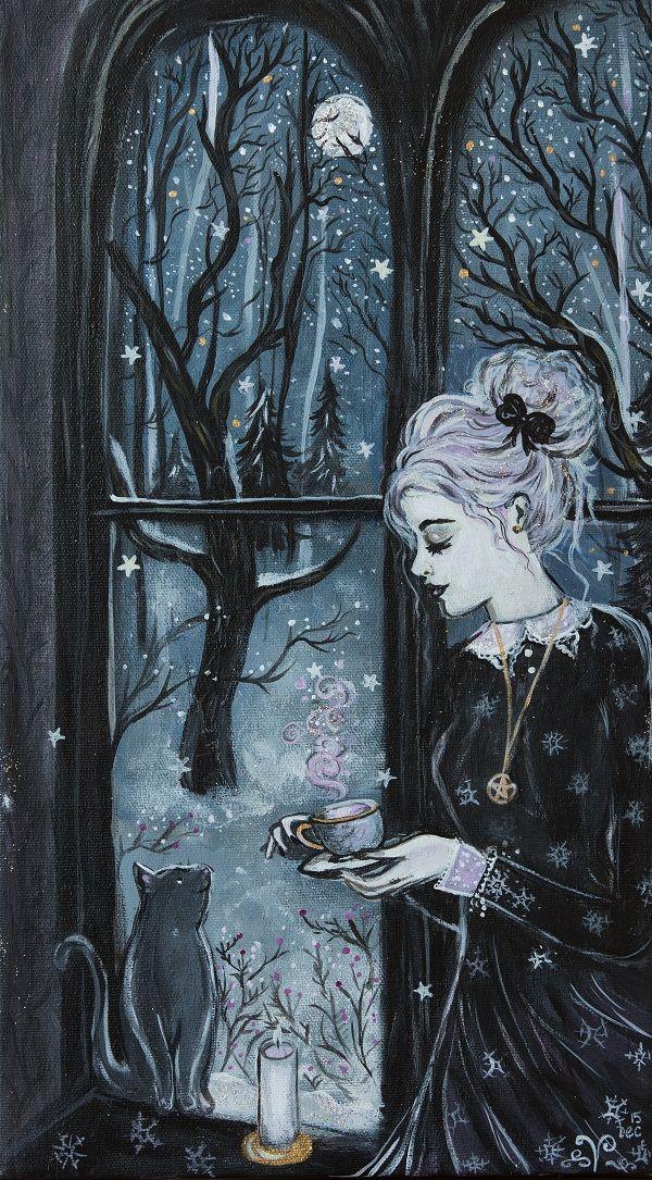 "ladytor: "" ""Making sugarplum tea"" painting by: lady viktoria http://www.etsy.com/shop/artbyladyviktoria """