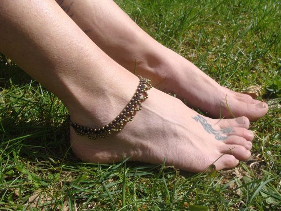 Beaded Indian anklet gypsy macrame anklet Brass от Oniropolis