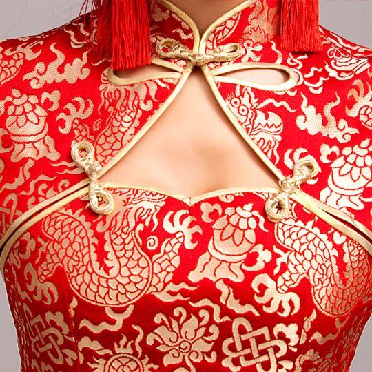Golden dragon brocade red Chinese mandarin collar high slit cheongsam qipao bridal wedding dress | Modern Qipao