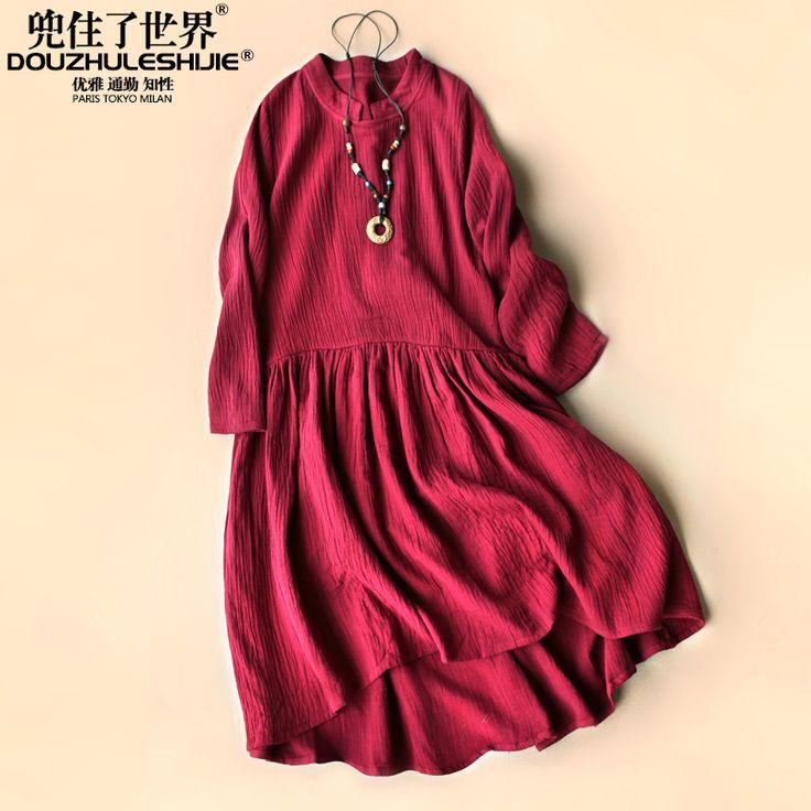 에서 새로운 도착 패션 2016 봄 코튼 섬유 드레스 여성 의류 부티크 드레이프 순수한 컬러 기질 긴 드레스에 관한 고품격 드레스,중국 의류 여름 공급상, 가격이 저렴한 의류 접착 더 많은 드레스정보를 찾습니다douzhuleshijie on Aliexpress.com