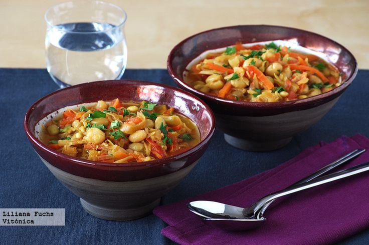 Judías blancas con juliana de verduras al curry. Receta saludable vegetariana. Con fotos del paso a paso, consejos y sugerencias de degustación. ...