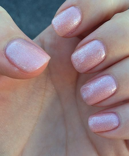 Pink sparkle nails. Gel Manicure