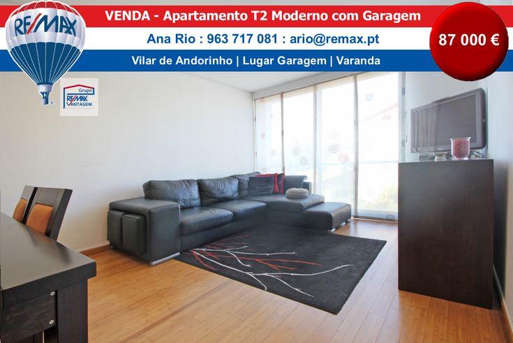 VENDA – T2 Vilar de Andorinho Excelente apartamento T2 moderno com lugar de garagem. Quarto com roupeiro. Uma casa de banho completa. Cozinha totalmente equipada e com lavandaria. Pavimento e…