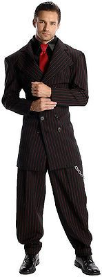 Men's Black & Red Zoot Suit Gangster Costume 1920's Pin Stripe Suit Size XLarge