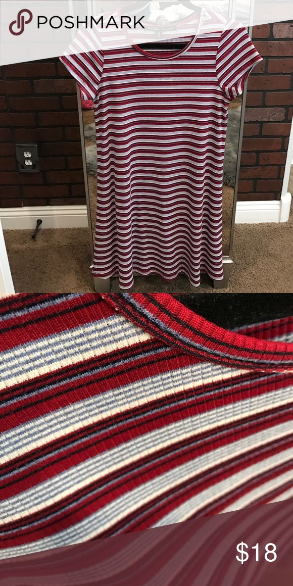 Striped T shirt dress Ripped tee shirt dress! Barley worn and is so comfortable! Great fit and not too short gypsies  Dresses Mini