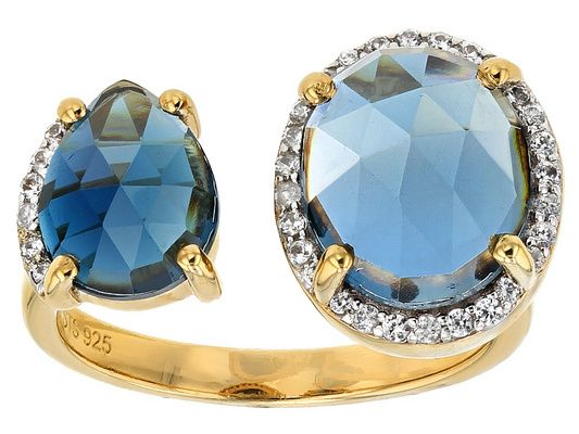 7.34ctw Pear Shape And Oval London Blue Topaz With .25ctw White Zirco
