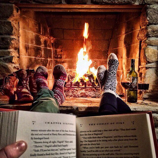 Wood socks, wine, fire, books, bliss.