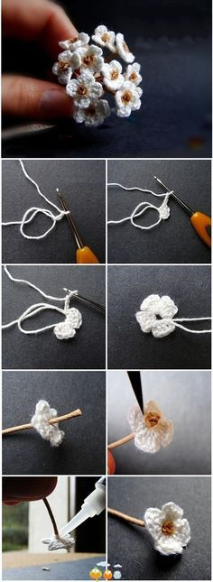 Tiny white crochet flowers US Terms: Magic circle, *chain 3, 2 double crochet, chain 3, slip stitch into the ring.*  Repeat from * 4 times.