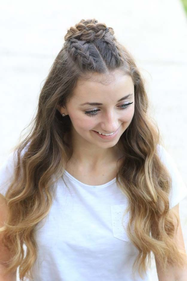 Cool and Easy DIY Hairstyles - Half-Up Rosette Combo - Quick and Easy Ideas for Back to School Styles for Medium, Short and Long Hair - Fun Tips and B...