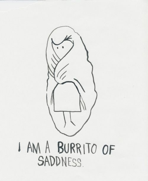 Jesień czyni nas burritem smutku i dlatego trzeba pracować nad tym by jakoś z tego wyjść (obrazek: I Am A Burrito of Sadness autorstwa Jillian Fleck).