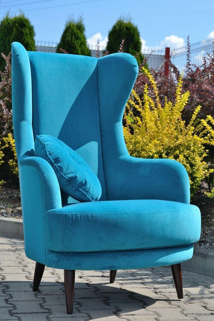 Niebieski Fotel Uszatek Wysoki Fotel W Stylu Angielskim