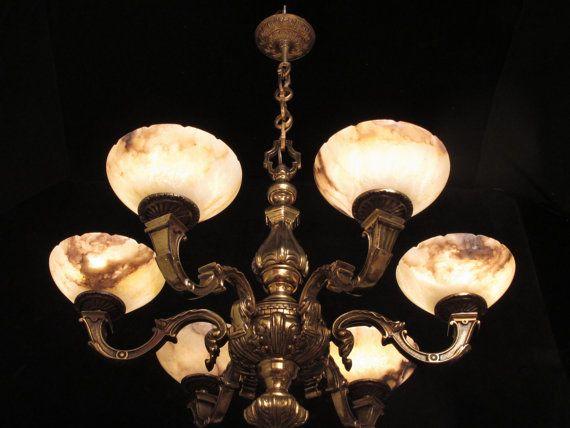 chandelier bronze & real alabaster vintage by europeanlighting, $3850.00