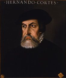 """Retrato de Hernán Cortés (1485 - 1547) a Spanish Conquistador who led an expedition that caused the fall of the Aztec Empire and brought large portions of mainland Mexico under the rule of the King of Castile in the early 16th century. / Eliminated Mexico and the Aztec civilization, the establishment of """"New Spain"""""""