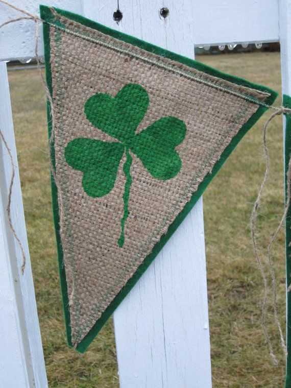 Upcycled Burlap Banner IRISH Green Painted by enduredesigns