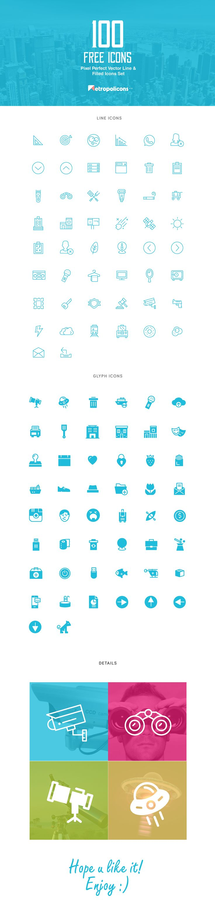 100 free vector lined & filled icons on Behance