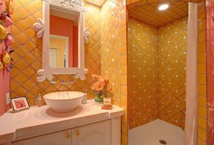 "Mediterranean 3/4 Bathroom with South Cypress - Bright 4"" x 4"" - Mandarin Orange Tile, Raised panel, Corian counters, Flush"