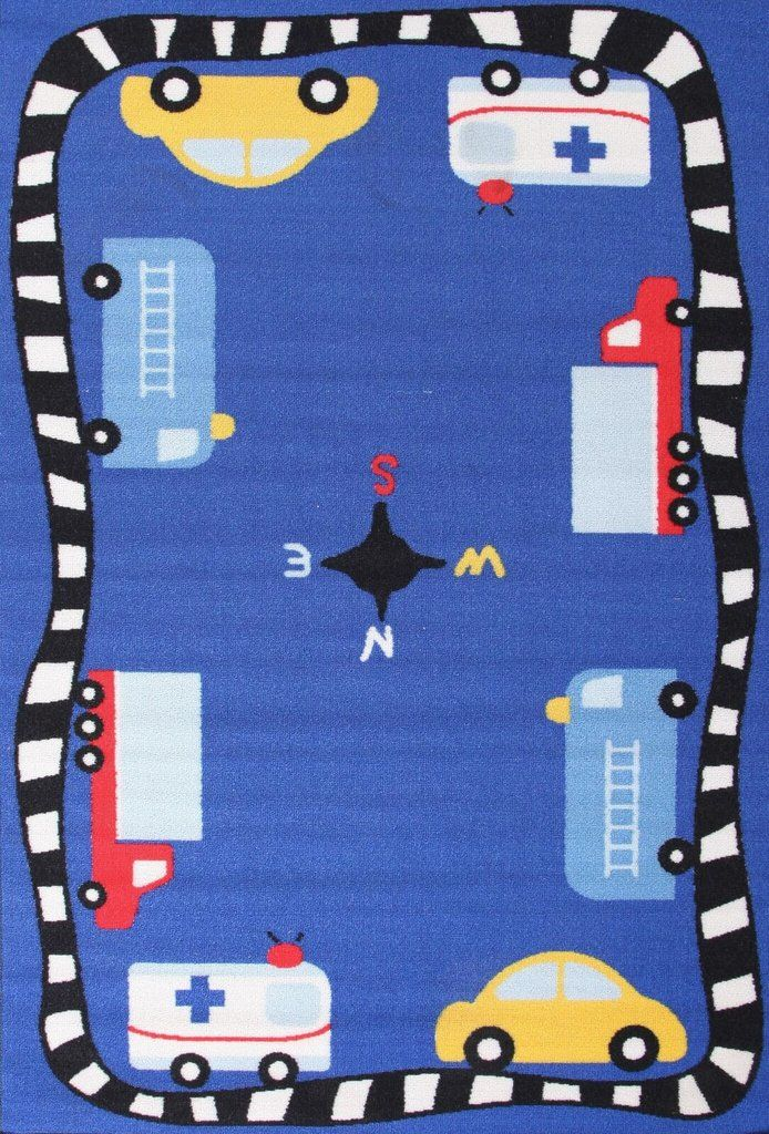 CARS RUG - BLUE - 150 X 100CM A cute addition to any home or centre!