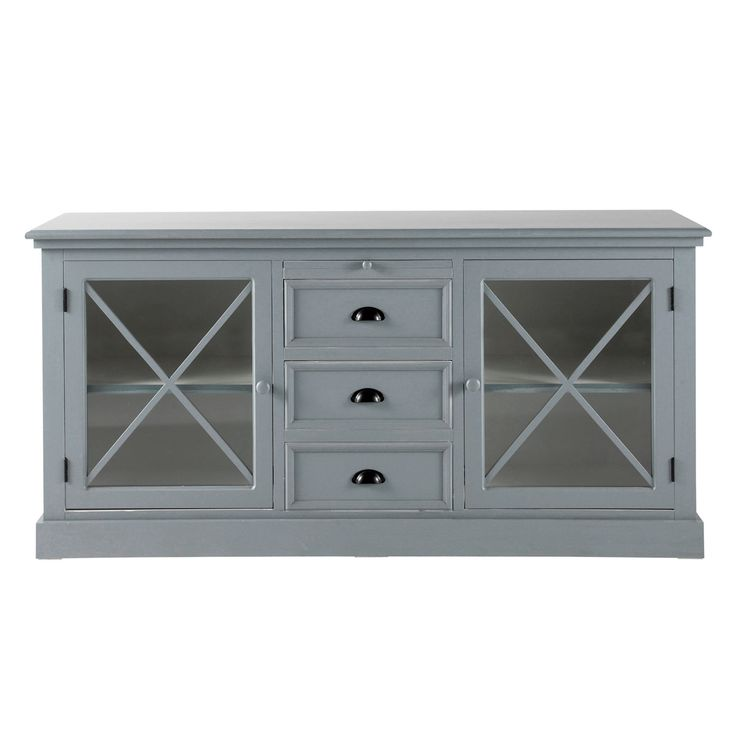 Grey wood glass-door buffet Newport