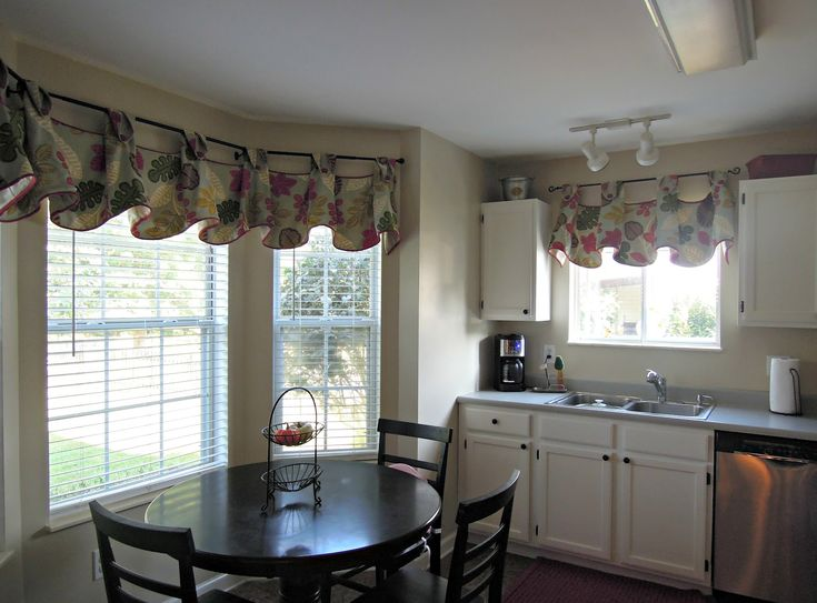Kitchen Sweet Floral Valance On White Bay Window Near Black Wood Dining Table Set In Calm Appealing Treatment Ideas With