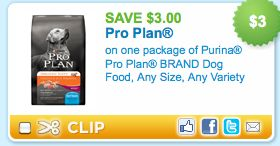 Print the $3/1 Pro Plan coupon on Coupons.com and use it on the small bags of Pro Plan dog food that are priced at $3.57 to get these for just $0.57 per bag.  You should be able to print the coupon twice per computer.  Thanks, The Thrifty Couple!
