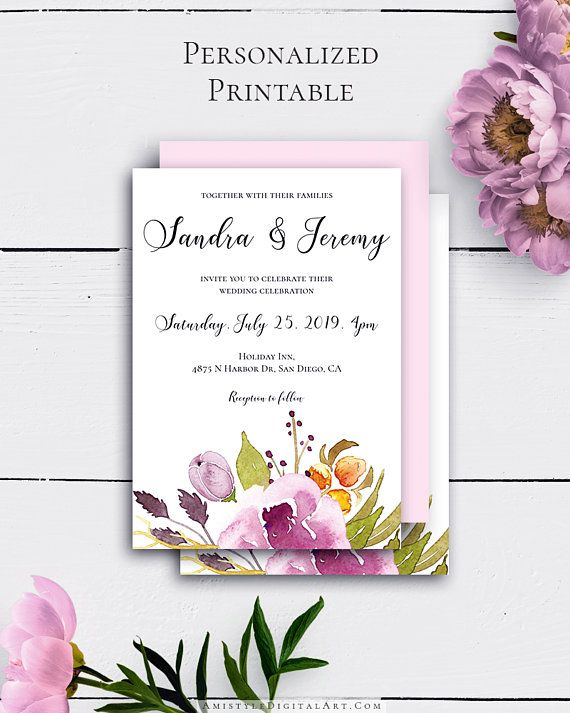 Bohemian Wedding Invitation with delicate and classy watercolor marsala florals in boho and chic style by Amistyle Digital Art on Etsy