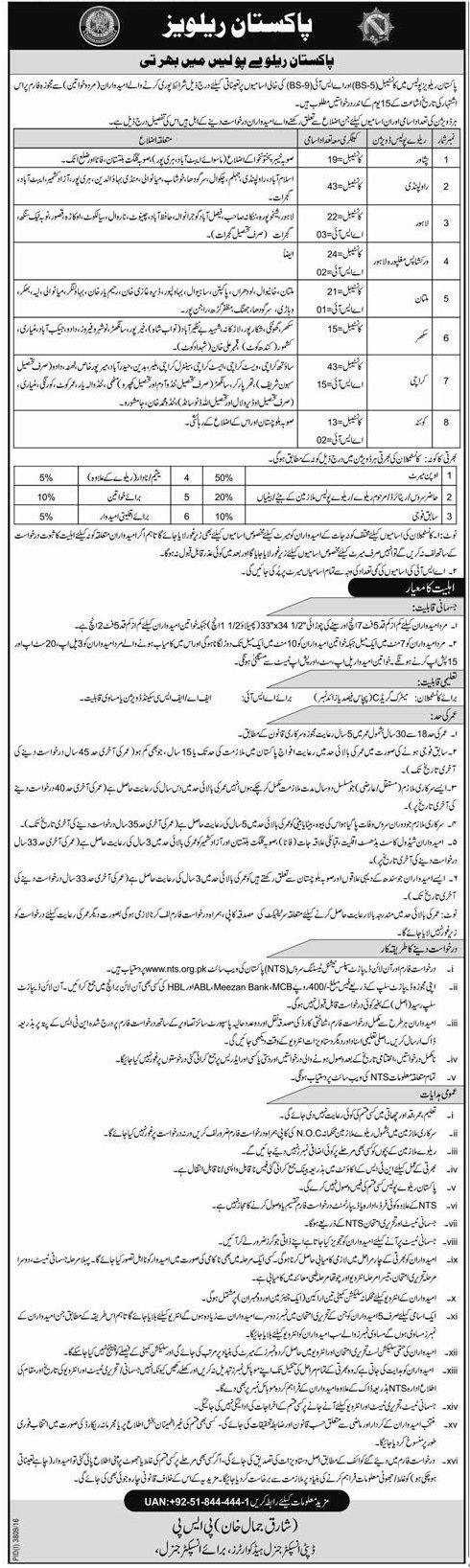 Job Title Pakistan Railway Police Jobs 2017 For Constable and ASI Job Description You can find here latest Pakistan Railway Police Jobs 2017 For Constable and ASI. Applications are invited for Pakistan Railway Police from educatedand experienced candidates. Vacant Posts (i).Constable – BPS-05 [Peshawar – Posts=19] (ii).Constable – BPS-05 [Rawalpindi – Posts=43] (iii).Constable – BPS-05 …