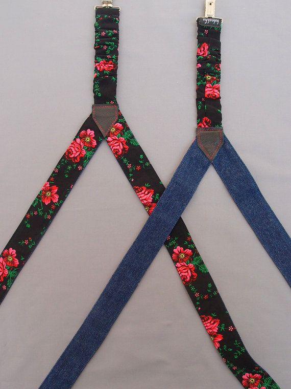 Black Floral Womens Suspenders Reversable Denim by baboshkaa
